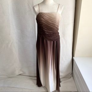 Couture Silk 8 10 Ombré Fade Gathered Dress Brown